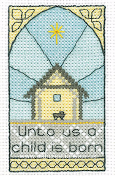 A Child Is Born Christmas Greetings Card Cross Stitch Kit